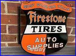 16 Inch flange Firestone Tires Auto Supplies vintage style Porcelain Enamel Sign
