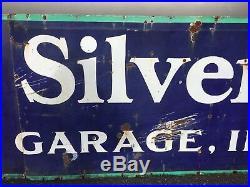 18ft Vintage 1930s GOODRICH SILVERTOWNS Tires Gas Oil Kregers Porcelain Sign