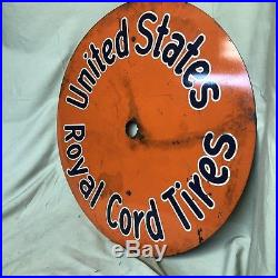 1920-30s Vintage UNITED STATES ROYAL CORD TIRES DISPLAY METAL INSERT SIGN