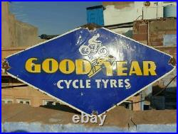 1920's Old Vintage Rare Double Sided Goodyear Tyres Porcelain Enamel Sign Board