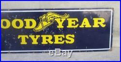 1930 Vintage Original Good Year Tyre Oil Gas Station Enamel Porcelain Sign Board