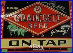 1930's Grain Belt Porcelain Neon Sign original rare vintage beer tire dealer