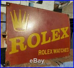 1930's Old Vintage Rare Red Rolex Watches Porcelain Enamel Sign, Collectible