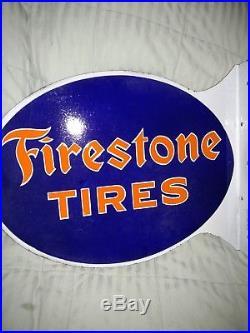 1930's Vintage Firestone Tires Double Sided Porcelain Flange Sign-original