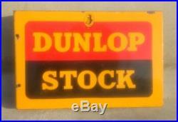 1930's Vintage Old Dunlop Stock Tyre Both Side Ad Porcelain Enamel Sign Board