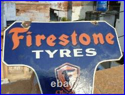 1940's Old Vintage Rare Unique Shape Firestone Tire Porcelain Enamel Sign Board