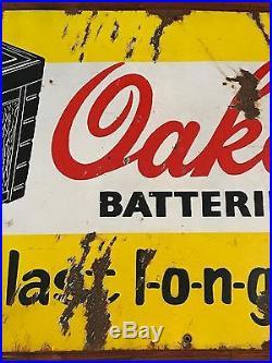1940s OAKES BATTERIES VINTAGE AUTO OIL GAS CAR TIRE GARAGE PORCELAIN ENAMEL SIGN