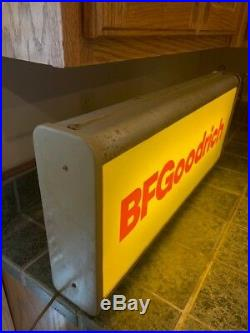 1950's Vintage BFGoodrich Lighted Tire Sign Red Letters Advertising B F Goodrich