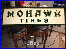 1950s Vintage NOS ORIGINAL MOHAWK TIRES GAS OIL Metal ADVERTISING EMBOSSED SIGN