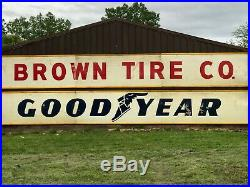 1956 CRATED 30' Vintage ORIGINAL BROWN TIRE Sign Gas Oil Airplane Hanger Garage