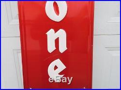 1960's Firestone Tires Gas Station Oil 72 Embossed Metal Sign Large Vintage