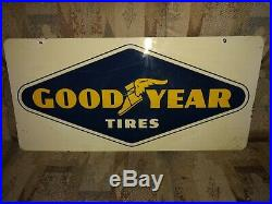 1966 Goodyear Tire Sign Original Rare Vintage Two Sided
