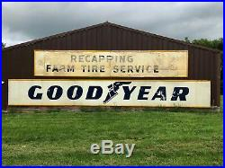 2 HUGE 30' Long Vintage ORIGINAL 1956 GOODYEAR FARM TIRE Signs Gas Oil Hanger