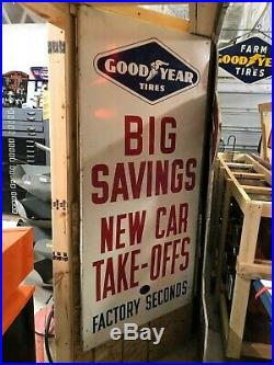 2 LARGE Original 1964 GOODYEAR TIRE SIGNS Vintage Gas Oil Station 6' Mancave OLD