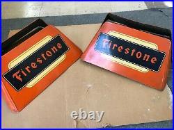 (2) Vintage Firestone Tire Stands Gas Station Dealer Display Stand Sign