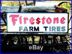 3FT. Vintage Hand Painted FIRESTONE FARM TIRES Motor Dealership Sign Gas Oil bl
