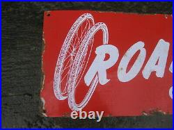 45999 Old Vintage Antique Enamel Sign Bike Shop Advert Bicycle Tire Tyre