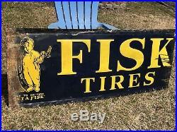 64 Antique Embossed Metal FISK Tire Boy Gas Oil Auto Car Non Porcelain Sign VTG
