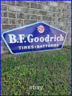 A. M. 49 Vintage B. F. Goodrich Tires Sign Batteries Porcelain Made in USA RARE