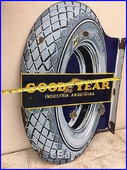 Antique GOODYEAR Vintage Enamel Porcelain Advertising Sign ORIGINAL 2 Sides Tire