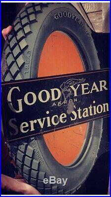 Antique Goodyear Flanged Tire Sign 1915! Original Rare Vintage Two Sided
