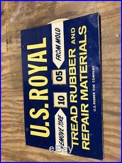 Antique U. S. Royal Tire Sign, Vintage Tire Mold Calendar, Gas Oil Advertising