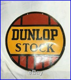 Antique Vintage Dunlop Stock Tyre Tire Double Sided Round enamel Porcelain sign