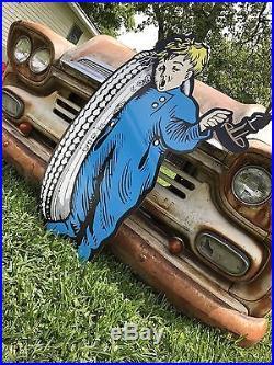 Antique Vintage Old Style Fisk Tires Sign 40