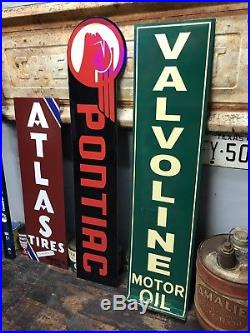Antique Vintage Old Style Pontiac Valvoline Atlas Tires Sign Blemish Bundle # 7