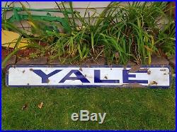 Antique Vtg Yale University Tires Motorcycle Locks Porcelain Advertising Sign 5