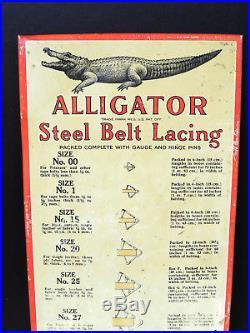 Antique vtg c1920s ALLIGATOR Steel Belt Lacing TIN SIGN Industrial Gas Oil Tires