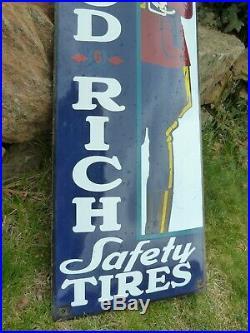BF GOODRICH Porcelain Sign Advertising Vintage Racing USA 35 Domed Old Tires