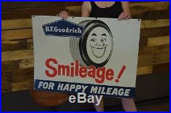 BF GOODRICH TIRES SMILEAGE TIN SIGN vintage Rare version large graphic Gas Oil