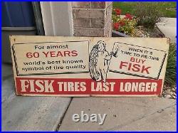 C. 1950s Original Fisk Tires Sign withchild Vintage Dealer Gas Oil Last Longer