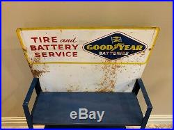 Display Sign Goodyear Batteries, Tire & Battery Service Blue Vintage Man Cave