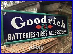 Excellent 1940s Vintage Goodrich Tires Porcelain Sign -Great Colors & Size