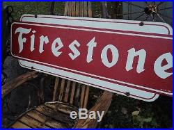 Excellent Old Antique Firestone Tire Vintage Metal Sign Very Clean