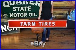 Firestone Farm Tires Vintage Sign Service Garage dealer Gas Oil Station Original