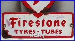 Firestone Tire Advertising Sign Vintage Porcelain Enamel Cut Out Shop Display Ad