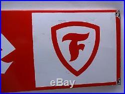 Firestone Tire Sign Vintage Porcelain Enamel Gasoline Oil Petrol Pump Collectibl