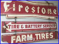 Firestone Tire metal sign vintage double sided