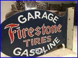 Firestone Tires Vintage Porcelain Sign Gargoyle, Gas, Oil, Pegasus, 2 Sided Flange