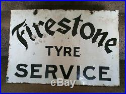 Firestone Tyre Service Enamel Sign Vintage Automobilia Garage Memorabilia Motor