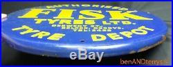 Fisk Tyres Round Metal Tin Gas Station Porcelain Vintage Tire Sign