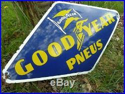 GOODYEAR porcelain sign 22 convex vintage gasoline oil domed old tires shop USA