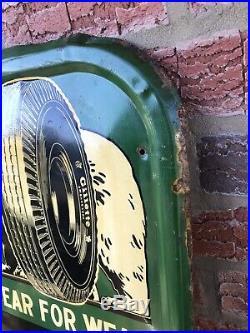 Gillette Tire Sign A Bear For Wear Embossed Vintage