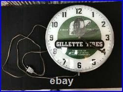 Gillette Tires Lighted Pam Clock, Vintage Advertising Sign, Bubble Glass