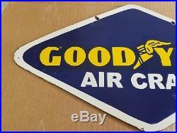 Good Year Air Craft Porcelain Sign Airplane Oil Gas Station Tires Vintage Garage
