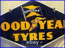 Good Year Tire Advertisement Vintage Porcelain Enamel Rare Hexagon Double Sided