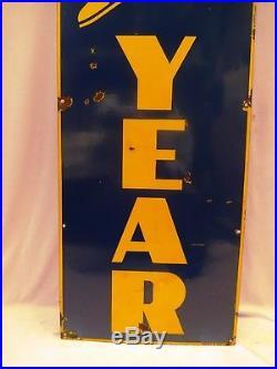 Good Year Tire Advertising Sign Blue Color Vintage Enamel Porcelain Collectibles